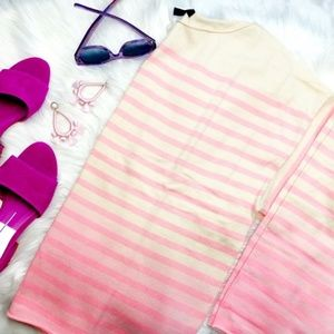 J. Crew Pink Dip Dye Striped Ombre Sweater